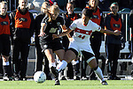 07 November 2010: Maryland's Skyy Anderson (44) and Wake Forest's Kristen Meier (26). The Wake Forest University Demon Deacons defeated the University of Maryland Terrapins 3-1 on penalty kicks after the game ended in a 1-1 tie after overtime at WakeMed Stadium in Cary, North Carolina in the ACC Women's Soccer Tournament championship game.
