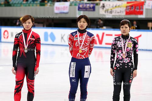 (L-R) Ayuko Ito, Yui Sakai, Biba Sakurai, DECEMBER 15, 2013 - Short Track : Short track Japan National Team Selection for Sochi Oympic Games, Women's 500m final at Osaka Pool Ice Skating Rink, Osaka Japan. (Photo AFLO SPORT)