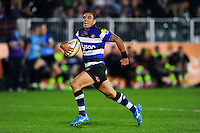 Kahn Fotuali'i of Bath Rugby runs in a try. Aviva Premiership match, between Bath Rugby and Sale Sharks on October 7, 2016 at the Recreation Ground in Bath, England. Photo by: Patrick Khachfe / Onside Images