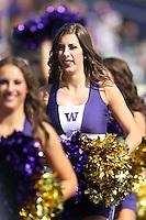 2013-09-21: Washington cheerleader Megan Florer entertained fans during the game  against Idaho State.  Washington won 56-0 over Idaho State in Seattle, WA.