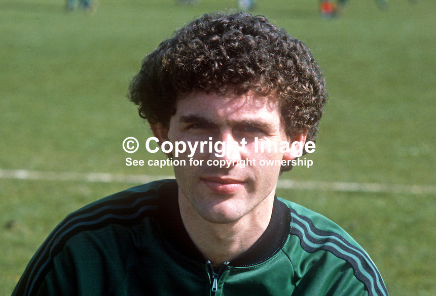 Jim Cleary, Glentoran FC, Belfast, N Ireland, training session, N Ireland tracksuit, March 1982, 198203000060JC<br /> <br /> Copyright Image from Victor Patterson, 54 Dorchester Park, Belfast, UK, BT9 6RJ<br /> <br /> t: +44 28 90661296<br /> m: +44 7802 353836<br /> vm: +44 20 88167153<br /> e1: victorpatterson@me.com<br /> e2: victorpatterson@gmail.com<br /> <br /> For my Terms and Conditions of Use go to www.victorpatterson.com