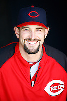 15 June 2011: Reds LHP pitcher #45 Bill Bray in the dugout smiles before a Major League Baseball game where the LA Dodgers were defeated 7-2 by the Cincinnati Reds at Dodger Stadium during a day game. Players are wearing throwback uniforms from the 1940's. **Editorial Use Only**