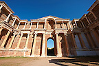 The Bath Gymnasium complex of Sardis, a typical example of the colonnaded palaestra front of a Hellenistic 1st cent. AD Greco Roman baths of the western &amp; southern region of Anatolia. Sardis archaeological site, Hermus valley, Turkey. A Harvard Art Museum excavation project.