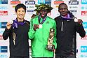 (L to R) Arata Fujiwara (JPN), Michael Kipyego (KEN), Stephen Kiprotich (UGA), .February 26, 2012 - Marathon : .Tokyo Marathon 2012, Medal Ceremony .at Tokyo Big Sight, Tokyo, Japan. .(Photo by Daiju Kitamura/AFLO SPORT) [1045]