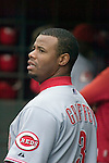 Cincinnati Reds Ken Griffey Jr., looks out of the team dugout before their game against the Seattle Mariners at Safeco Field in Seattle on June 24, 2007. Jim Bryant Photo. ©2010. ALL RIGHTS RESERVED.