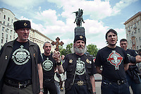 Moscow, Russia, 27/05/2012..Russian nationalists gather to prevent an attempted gay pride parade in central Moscow. Several dozen people were arrested during clashes as Russian nationalists attacked gay rights activists during their seventh attempt to hold a gay pride parade in the Russian capital.