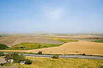 Israel, Jezreel Valley, a view north east as seen from Tel Megiddo National park. Megiddo is a tel (hill) made of 26 layers of the ruins of ancient cities in a strategic location at the head of a pass through the Carmel Ridge, which overlooks the Valley of Jezreel from the west.