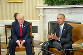 United States President Barack Obama meets US President-elect Donald Trump in the Oval Office of the White House in Washington, DC on November 10, 2016.<br /> Credit: Ron Sachs / CNP<br /> (RESTRICTION: NO New York or New Jersey Newspapers or newspapers within a 75 mile radius of New York City)