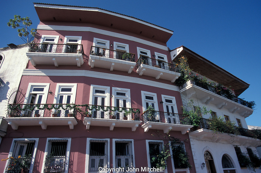 Restored Spanish colonial buildings that have been turned into condominiums and apartments, Casco Viejo, Panama City