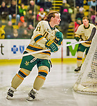 4 January 2014:  University of Vermont Catamount Forward Mario Puskarich, a Freshman from Fort Walton Beach, FL, skates behind his net prior to facing the Yale University Bulldogs in non-conference play at Gutterson Fieldhouse in Burlington, Vermont. With an empty net and seconds remaining, the Cats came back to tie the game 3-3 against the 10th seeded Bulldogs. Mandatory Credit: Ed Wolfstein Photo *** RAW (NEF) Image File Available ***