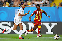 USA's Sydney Leroux (L) and Rosemary Ampem of Ghana during the FIFA U20 Women's World Cup at the Rudolf Harbig Stadium in Dresden, Germany on July 14th, 2010.