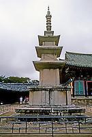 So. Korea: Kyong-Ju--Stone pagoda, ninth century at Bulgug-sa Temple. Photo '81.