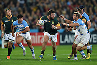 Frans Malherbe of South Africa goes on the attack. Rugby World Cup Bronze Final between South Africa and Argentina on October 30, 2015 at The Stadium, Queen Elizabeth Olympic Park in London, England. Photo by: Patrick Khachfe / Onside Images