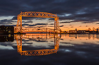 &quot;Rhapsody in Blue&quot;<br /> The Aerial Lift Bridge is enveloped in the blues of twilight on a serene winter morning.