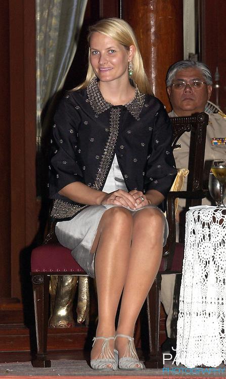 Crown Prince Haakon & Crown Princess Mette-Marit of Norway's visit to Thailand..Visit to Phra Nakhon Si Ayutthaya Province where they watched Thai dancing at Siriyalai Villa...