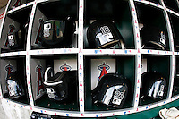 May 5, 2007:  White Sox  players helmets in the dugout as the Chicago White Sox played the Los Angeles Angels of Anaheim at Anaheim Stadium in Anaheim, CA.