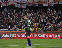 A dejected England goalkeeper Robert Green. USA tied England 1-1 in the 2010 FIFA World Cup at Royal Bafokeng Stadium in Rustenburg, South Africa on June 12, 2010.