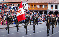 Cusco, Peru. 25 July 2014. Military officers take part in the parade for the 193rd Independence's anniversary of Peru.  Photo by Juan Gabriel Lopera/VIEWpress.
