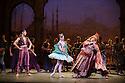 London, UK. 12.01.2016. English National Ballet present Le Corsaire, at the London Coliseum. Picture shows: Jinhao Zhang (Lankendem), Laurretta Summerscales (Medora), Michael Coleman (Pasha). Photograph © Jane Hobson.