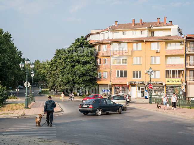 Central district buildings in Kazanlak, Bulgaria