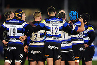 The Bath Rugby team huddle together during a break in play. Aviva Premiership match, between Bath Rugby and Bristol Rugby on November 18, 2016 at the Recreation Ground in Bath, England. Photo by: Patrick Khachfe / Onside Images