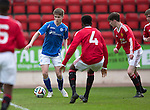 St Johnstone Academy v Manchester Utd Academy&hellip;.06.05.16  McDiarmid Park, Perth<br />David Brown is surrounded by United players<br />Picture by Graeme Hart.<br />Copyright Perthshire Picture Agency<br />Tel: 01738 623350  Mobile: 07990 594431