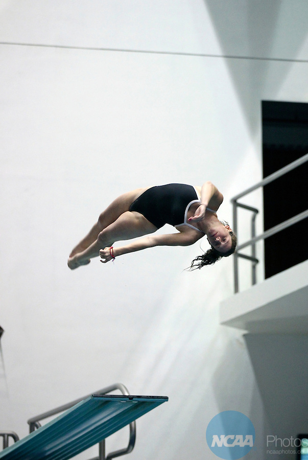 24 MAR 2012:  Ruth Hahn of Trinity dives in the 3 meter event during the Division III Mens and Womens Swimming and Diving Championship held at the IU Natatorium in Indianapolis, IN.  Hahn won the event with a score of 481.00. Michael Hickey/NCAA Photos