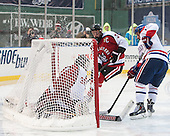 Clay Witt (NU - 31), Stephen Buco (UML - 11), Josh Manson (NU - 3) - The Northeastern University Huskies defeated the University of Massachusetts Lowell River Hawks 4-1 (EN) on Saturday, January 11, 2014, at Fenway Park in Boston, Massachusetts.
