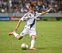 CARSON, CA - July 4, 2012: LA Galaxy midfielder Hector Jimenez (16) during the LA Galaxy vs Philadelphia Union match at the Home Depot Center in Carson, California. Final score LA Galaxy 1, Philadelphia Union 2.