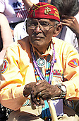 """Washington, D.C. - May 29, 2004 -- An unidentified veteran Navajo """"Code Talker"""" listens as United States President George W. Bush makes remarks at the dedication of the World War Two Memorial in Washington, D.C. on May 29, 2004..Credit: Ron Sachs / CNP"""