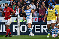 Joaquin Tuculet of Argentina celebrates scoring a try. Rugby World Cup Pool C match between Argentina and Tonga on October 4, 2015 at Leicester City Stadium in Leicester, England. Photo by: Patrick Khachfe / Onside Images