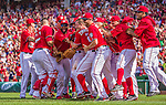 28 September 2014: Washington Nationals starting pitcher Jordan Zimmermann is congratulated by his teammates after throwing his first career no-hitter against the Miami Marlins at Nationals Park in Washington, DC. The Nationals shut out the Marlins 1-0, caping the season with the first Nationals no-hitter in modern times. The win also resulted with a 96 win season for the Nats: the best record in the National League. Mandatory Credit: Ed Wolfstein Photo *** RAW (NEF) Image File Available ***