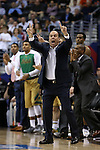 10 March 2016: Notre Dame head coach Mike Brey. The University of Notre Dame Fighting Irish played the Duke University Blue Devils at the Verizon Center in Washington, DC in the Atlantic Coast Conference Men's Basketball Tournament quarterfinal and a 2015-16 NCAA Division I Men's Basketball game. Notre Dame won the game 84-79 in overtime.