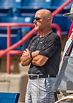29 February 2016: Washington Nationals General Manager Mike Rizzo watches play during an inter-squad pre-season Spring Training game at Space Coast Stadium in Viera, Florida. Mandatory Credit: Ed Wolfstein Photo *** RAW (NEF) Image File Available ***