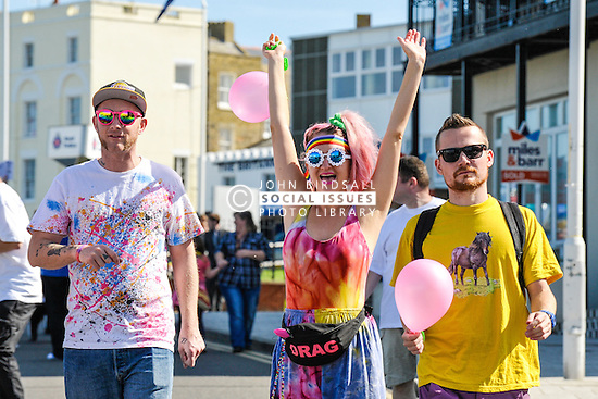 Participants in the colourful Kent Pride celebrations in Margate, Kent.