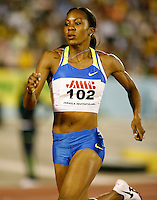 Sanya Richards winning the 400m with a time of 50.60sec. at the Jamaica International Invitational Meet on Saturday, May 3rd. 2008. Photo by Errol Anderson, The Sporting Image.