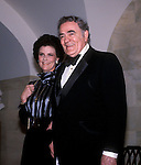 Author Louis L'Amour and his wife Kathy at a White House event for the January 1985 Inauguration of President Ronald Reagan.