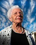 Centenarian Ruth Mast photographed outside of her home in Mesa,AZ.