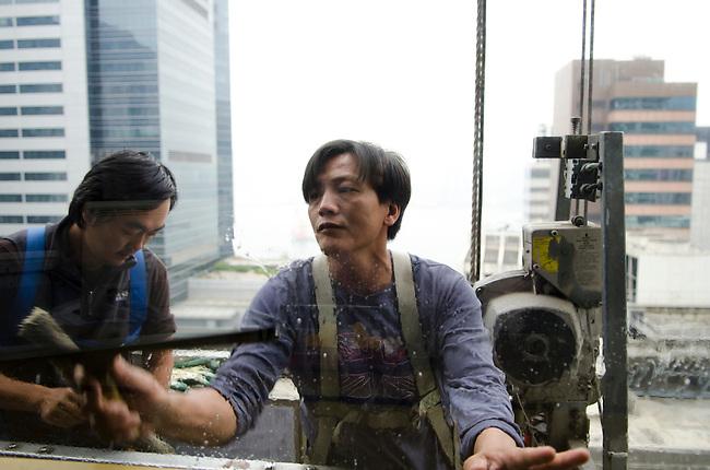 Hong Kong urban scene window washer
