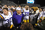LSU Head Coach Les Miles and the team sings after defeating Ole Miss at Vaught-Hemingway Stadium in Oxford, Miss. on Saturday, November 19, 2011. LSU won 52-3.