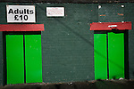 Glentoran 2 Cliftonville 1, 22/10/2016. The Oval, NIFL Premiership. The home turnstiles outside The Oval, Belfast, pictured before Glentoran hosted city-rivals Cliftonville in an NIFL Premiership match. Glentoran, formed in 1892, have been based at The Oval since their formation and are historically one of Northern Ireland's 'big two' football clubs. They had an unprecendentally bad start to the 2016-17 league campaign, but came from behind to win this fixture 2-1, watched by a crowd of 1872. Photo by Colin McPherson.