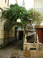 Moses Maimonides, also known as Rabbi Moshe ben Maimon - monument in Cordoba - Spain.  He was born in Cordoba in 12 century.  Maimonides was one of the most influential figures in medieval Jewish philosophy. He was also one of the greatest Torah scholars of all time. He was a rabbi, physician, and philosopher and lived in  Spain, Morocco and Egypt during the Middle Ages.