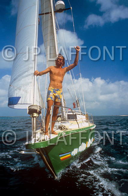 February 17, 1986. Cayo Largo, Cuba. Antoine relaxes at a stopover in the Cuban archipelago.