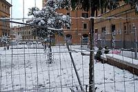 Nevicata a Roma.Snowfall in Rome.Piazza dell'Immacolata...
