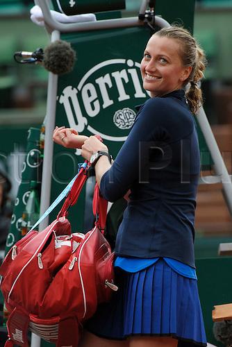 22.05.2016. Stade Roland Garros, Paris, France. Roland Garos French Open Tennis Day One.  Petra Kvitova (10) (CZE) celebrates her win over Danka Kovinic (MNE).  Kvitova won the match 6-2, 4-6, 7-5.
