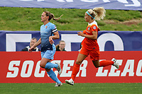 Piscataway, NJ - Saturday May 20, 2017: Rachel Daly, Christie Pearce during a regular season National Women's Soccer League (NWSL) match between Sky Blue FC and the Houston Dash at Yurcak Field.  Sky Blue defeated Houston, 2-1.