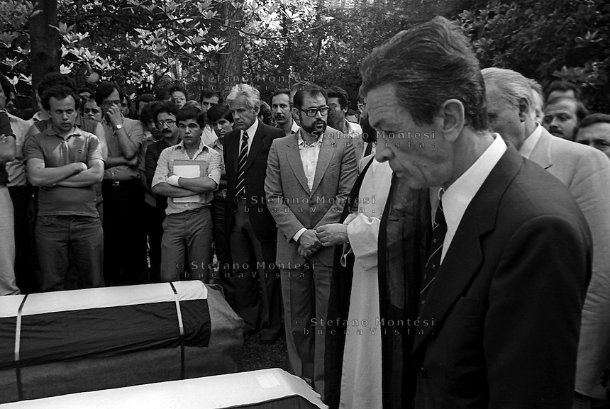 ROME, ITALY - JULY 17: Enrico Berlinguer National Secretary of the Italian Communist Party the day of the funerals of Hussein Kamal and Nazyh Mattar, Palestinian leaders Palestine Liberation Organization (PLO), killed in Rome two car bombs.  on July 17,1982 in Rome, Italy.