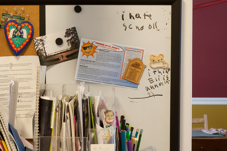 My older son silently vented his frustration at the upcoming school year, and his little brother, on our kitchen bulletin board. I erased his message after photographing it.