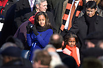 Malia (left) and Sasha Obama, daughters of President Barack Obama, arrived for their father's swearing-in ceremony at The Capitol Building. Washington, DC, January 20, 2009.