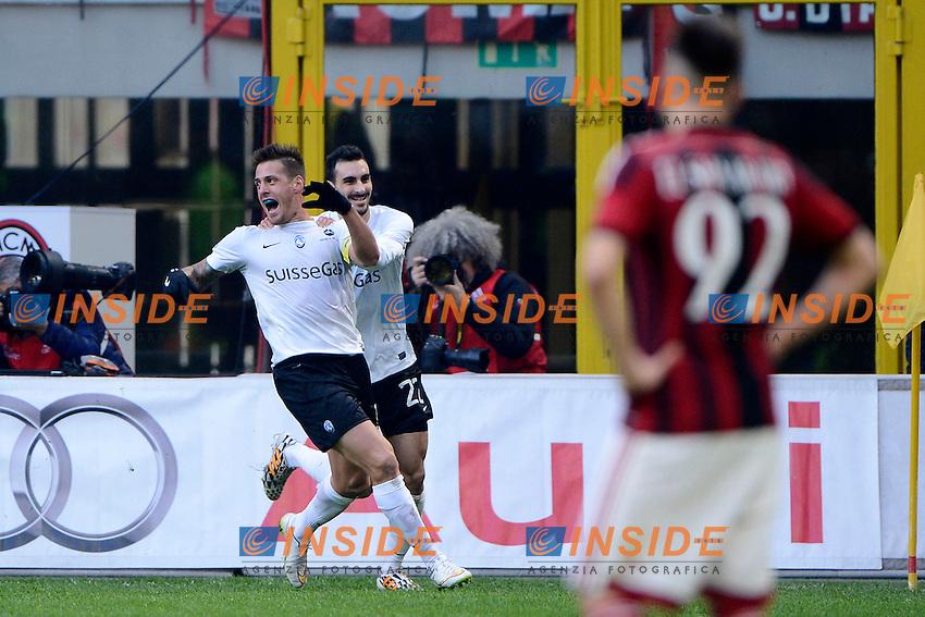 Esultanza gol di German Denis Atalanta 0-1. Celebration goal<br /> Milano 18-01-2015 Stadio Giuseppe Meazza - Football Calcio Serie A Milan - Atalanta. Foto Giuseppe Celeste / Insidefoto